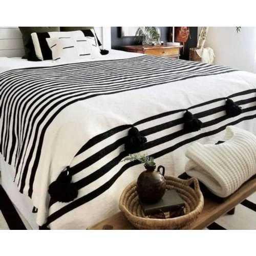 Plaid à Pompons Noir & Blanc