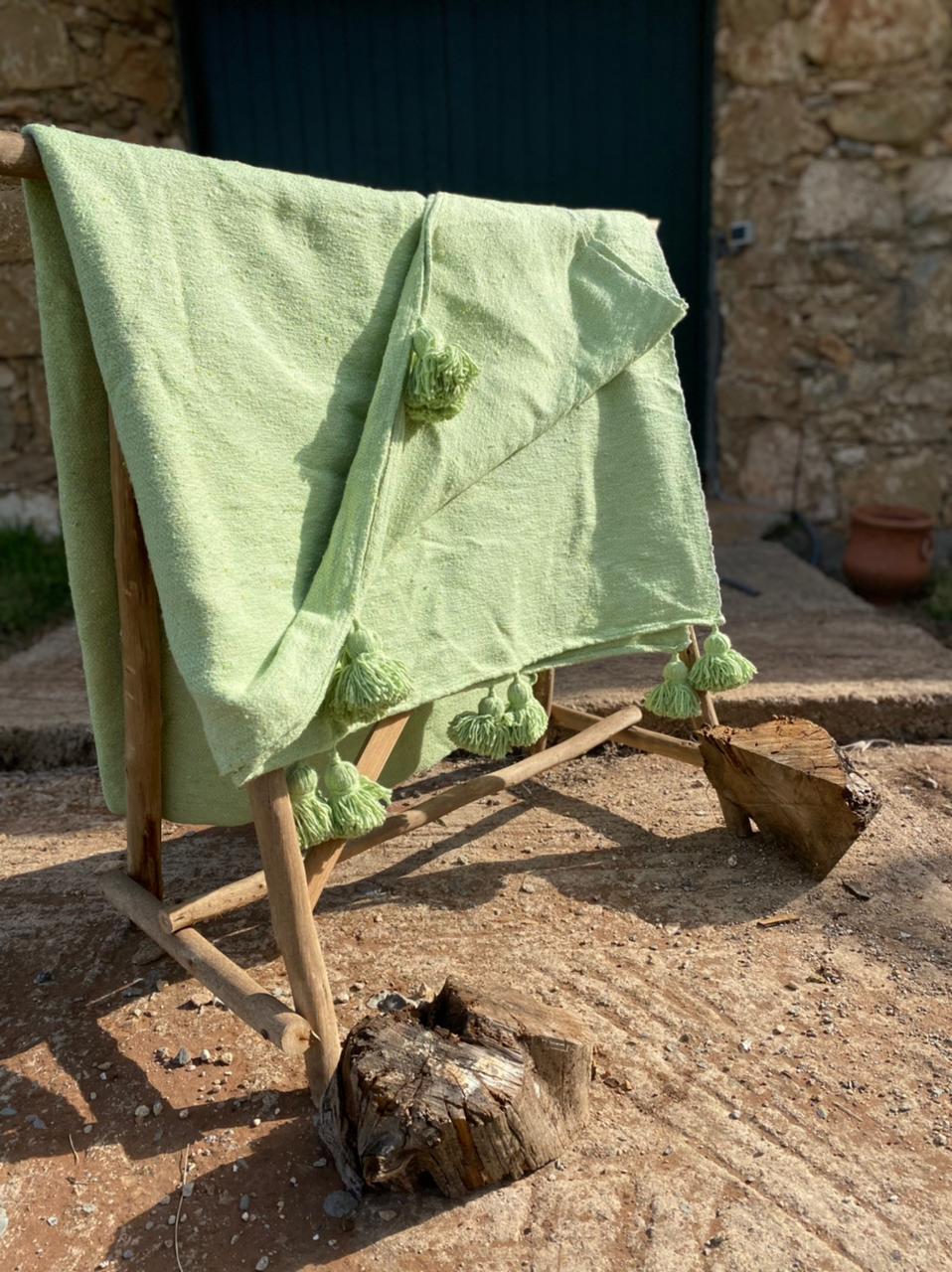 Plaid pompon Vert Losange